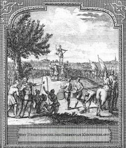 """Het Huldtoneel der Heeren van Kennemerlant uit de gravure door Hendrik de Leth ca 1729 in """"Het Zegenpralent Kennemerlant"""""""