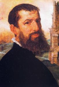 Zelfportret Maerten van Heemskerck 1553 uit schilderij bij Colosseum Rome