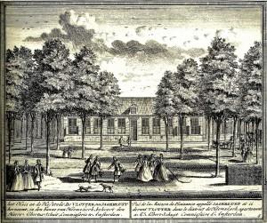 Het Huis en de Hofstede De Vlotter of Jagerslust zoals getekend rond 1729 door Hendrik de Leth en opgenomen in Het Zegenpralent Kennemerlant