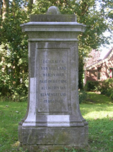 het monument dat werd geplaatst in 1863