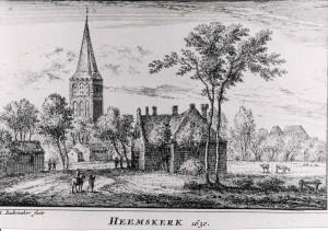 De dorpskerk in 1630 volgens een gravure van A. Rademaker